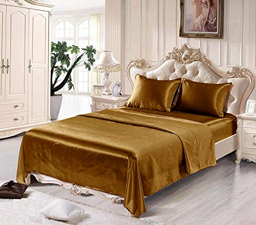Satin Sheets King [4-Piece, Coffee] Hotel Luxury Silky Bed Sheets - Extra Soft 1800 Microfiber Sheet Set, Wrinkle, Fade, Stain Resistant - Deep Pocket Fitted Sheet, Flat Sheet, Pillow Cases