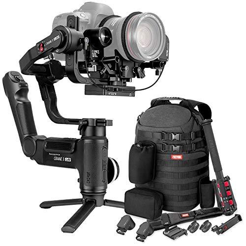 Zhiyun Crane 3 LAB 3-axis Handheld Gimbal Stabilizer for DSLR Mirrorless Camera Sony Canon Panasonic Nikon(Master Package - Phone Holder, Zoom Focus Motor, Camera Belt, Quick Setup kit, Monopod, Bag)