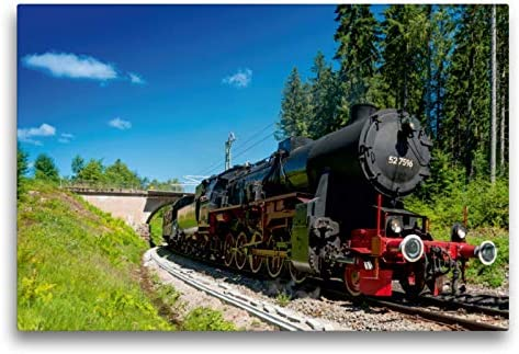 Premium Textil lienzo 75 cm x 50 cm horizontal, Dampflokomotive 52 7596 – Año 1944 – Cuadro de pared, imagen sobre lienzo auténtico, impresión sobre lienzo, tecnología Calvendo