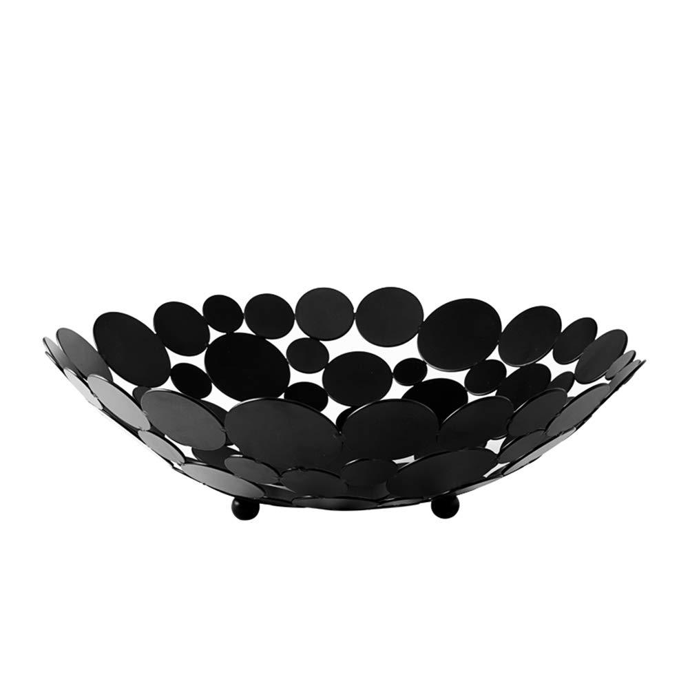 Ciotola per cestini da Frutta in Ferro Artistico Doppio Strato di Stile Elegante Ciotole di Frutta Hyvaluable Cesto di Frutta Colore : Nero Grande capacit/à