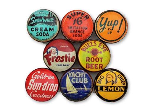 (Set of 8 Vintage Soda Cap Wood Cabinet Knobs (Set 1))