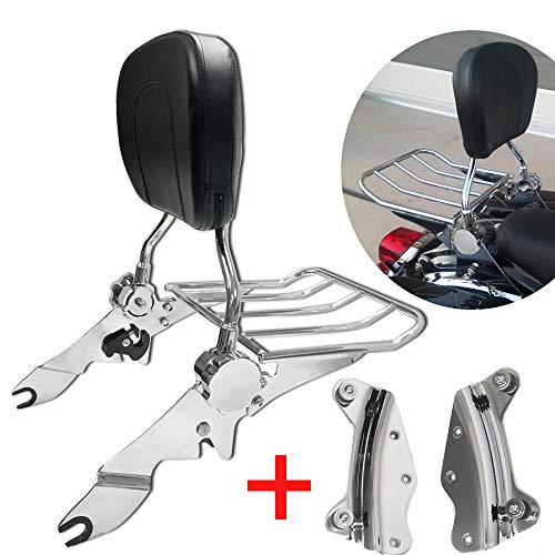 TTX LIGHTING Chrome Adjustable Detach Upright Passenger Backrest Sissy Bar W/Luggage Rack and Docking Hardware kit for 2009-2013 Harley Touring Street Glide Road King Glide FLHR FLTR FLHX FLHT