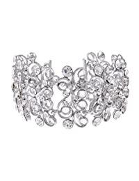 Alilang Silvery Tone Crystal Clear Colored Rhinestones Caged Princess Loop Bangle Bracelet