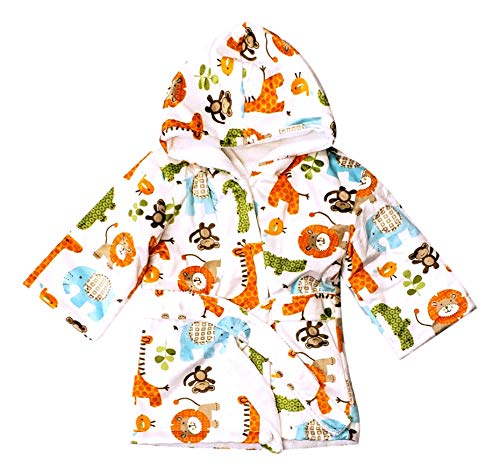 Extra Soft Plush Hooded Baby Terry Lined Bath Robe for Infants Toddlers - Can be Personalized (0-9 Months) | Ideal Registry Gift (Zoo Two - No Embroidery)]()