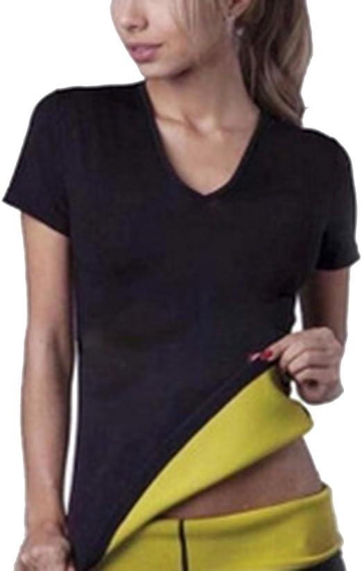 Hombres y Mujeres Neopreno Manga Corta Camiseta Corsé Trajes de Sauna Corset para Sudoración Quema Grasa Cuerpo de Sudor Caliente Chaleco Deportivo Faja Abdome Adelgaza: Amazon.es: Ropa y accesorios
