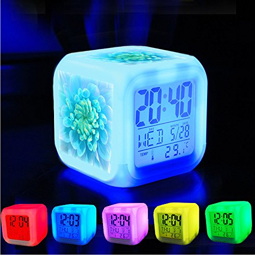 Alarm Clock 7 LED Color Changing Wake Up Bedroom with Data and Temperature Display (Changable Color) Customize the pattern?507.Painted Turquoise Flower (Wake Flowers)