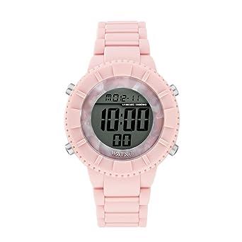 Reloj digital para mujer de WatxandCo. Con correa de silicona rosa claro. Esfera digital con bisel en acetado rosa claro y detalles en plateado.43mm: ...