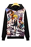 Dreamcosplay Anime The Seven Deadly Sins Black Pullover Hoodies(Asian Size S)