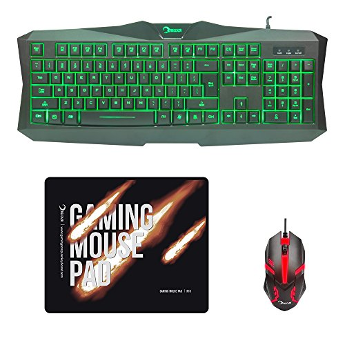 RECCAZR MC500 Gaming Keyboard LED Mouse and Mouse pad Combo 3 Color Backlit Keyboards 7 Color 1200DPI Mice 10.6'x8.8' Mouse mat Mouse Keyboard Set for PC/Laptops/Computer