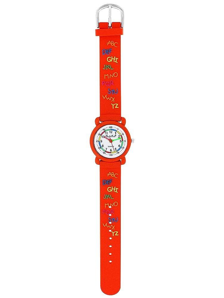 Pacific Time Reloj de pulsera para niños Reloj aprendizaje ABC Lectura Chica Joven analógico de cuarzo naranja 86296: Amazon.es: Relojes