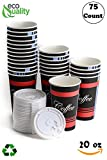 Large 20 oz 75 Count by EcoQuality - Classic Durable Disposable Paper Cups & White Lids For Hot/Cold Drink, Coffee, Tea, Cocoa, Travel, Office - 20 Ounce Cups, 75 Count Cups & 75 White Lids