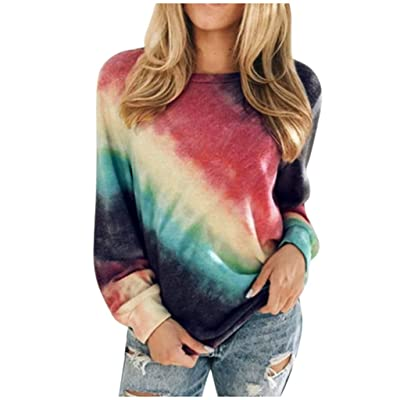 Women's Colorblock Tie Dye Sweatshirts Long Sleeve Crewneck Oversized Shirts Casual Loose Pullover Tops Chaofanjiancai at Women's Clothing store