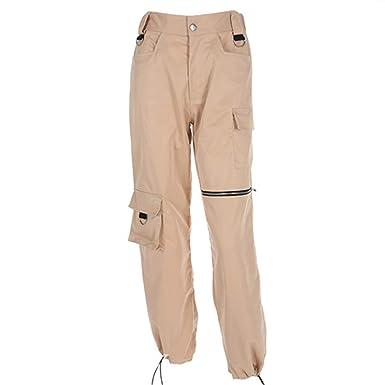 79fe7c073d Amazon.com  Pencil KUZI Women Streetwear Waist Pants Khaki Plus Size Street  Style Cargo Pants Zipper Pockets Patchwork Winter Trousers  Clothing