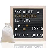Letter Board Ultimate Kit - Felt Letter Board - 10x10 Wooden Frame Message Board Black Felt Letter Board with 340 Letters, Changeable Message Word Board Sign, Free Drawstring