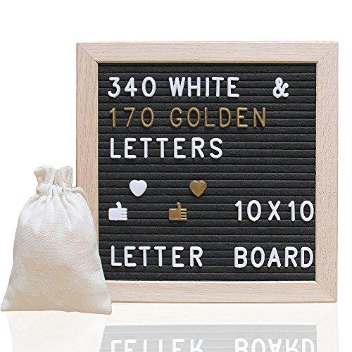 - Letter Board Ultimate Kit - Felt Letter Board - 10x10 Wooden Frame Message Board Black Felt Letter Board with 340 Letters, Changeable Message Word Board Sign, Free Drawstring