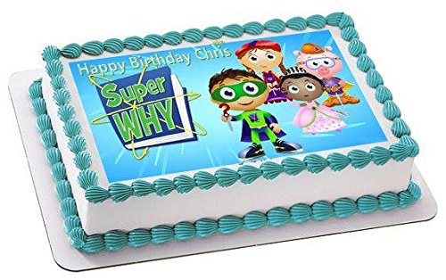SUPER WHY 3 Edible Birthday Cake OR Cupcake Topper, Edible Birthday Cake Topper, Edible Cupcake Topper - 7.5 x 10 rectangular inches