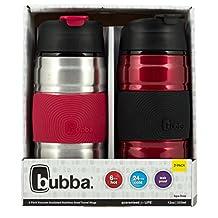 Bubba Marcas Hero agarre aislante para bebidas taza, SS/Cranberry, 12 oz. 2-Pack, 1