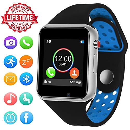 Smart Watch, HongTu Touchscreen with Camera,Unlocked Watch Phone with Sim Card Slot,Sleep Monitor Pedometer,Smartwatch Phone for Android Samsung S9 S8 IOS Iphone 8 7S Men Women Kids by HongTu