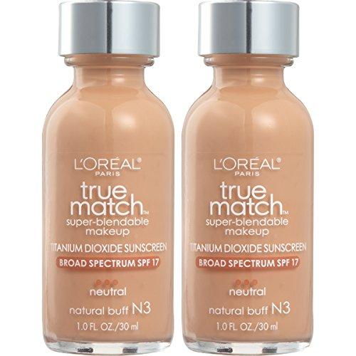 L'Oreal Paris Cosmetics True Match Super-Blendable Foundation Makeup, Natural Buff, 2 Count