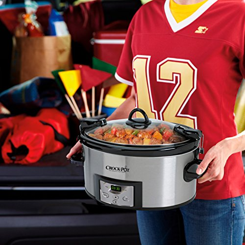 Large Product Image of Crock-Pot 6-Quart Programmable Cook & Carry Slow Cooker with Digital Timer, Stainless Steel, SCCPVL610-S