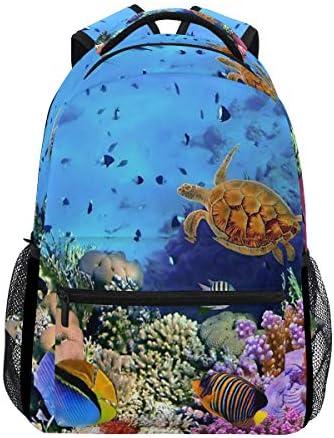 Eslifey Sea Life Schildkröten-Rucksack für Studenten, Reisetasche, Schulrucksäcke