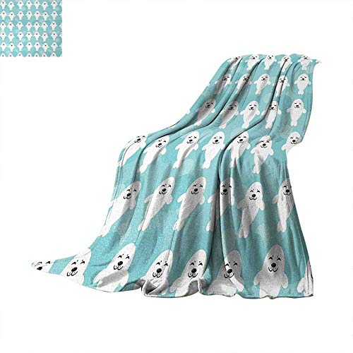 - Anhuthree Sea Animals Digital Printing Blanket Baby Seals with Cute Faces Children Smiling Cheerful Kids Theme Print Artwork Image 60