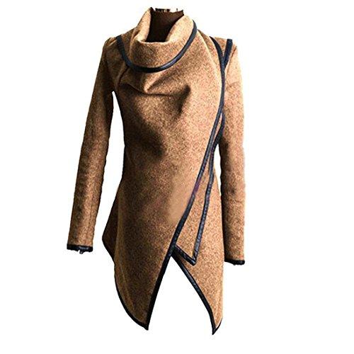 Dihope Outwear Laine Veste Brun paise Coat Gabardine Parka Manteau Femme Clair Longues Manches Automne Asymtrique Chaud Hiver AwrI6rYR