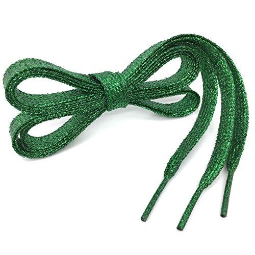 - Flat Shiny Metallic Glitter Shoelaces Grass Green WEGOODZF Sequin Flat Shoe Strings[2 Pair 43.31
