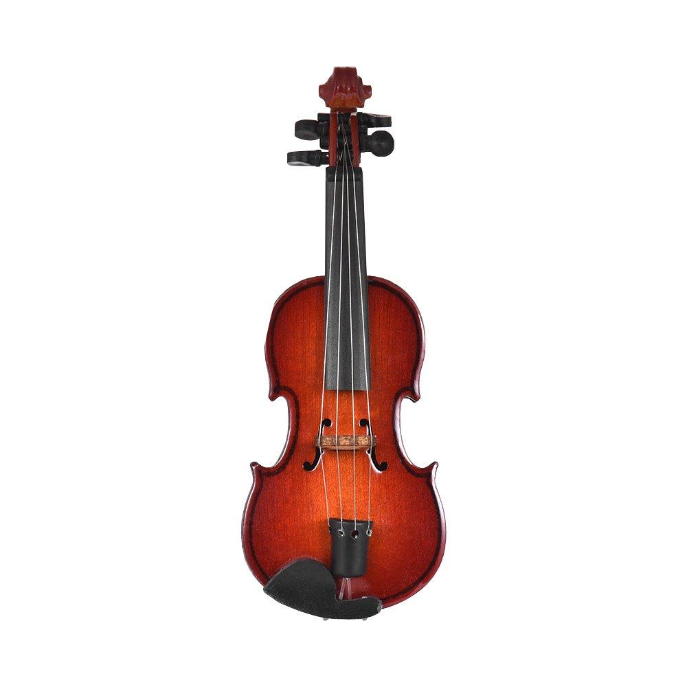 Muslady Modello di Violino Mini di Legno Squisito Decorazione per Strumenti Musicali da Tavolo Regalo Musicale con Delicate Box 14cm
