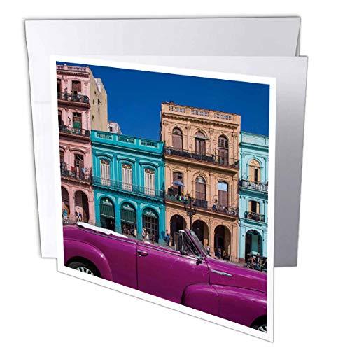 3dRose Danita Delimont - Cuba - Cuba, Havana. City Scenic with Purple Vintage car. - 1 Greeting Card with Envelope (gc_312983_5)