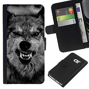 KingStore / Leather Etui en cuir / Samsung Galaxy S6 EDGE / Dents Museau Roar Noir