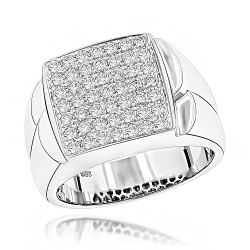 (Luxurman Unisex 14K Pave Set Natural 0.9 Ctw Diamond Ring For Him And Her (White Gold Size)