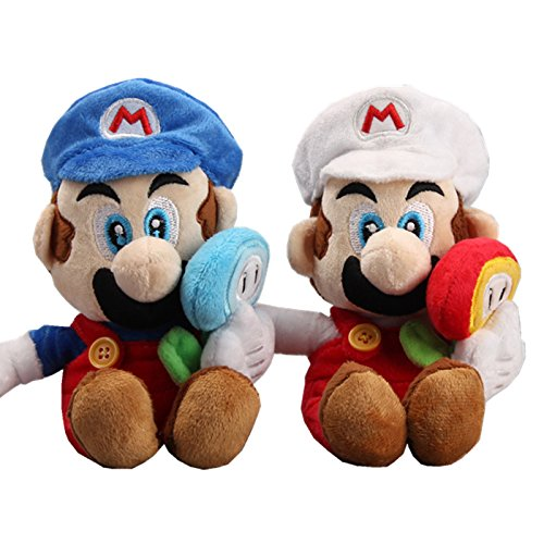 os. Ice Mario with Ice Flower & Fire Mario with Fire Flower Plush 7'' Set of 2 pcs ()