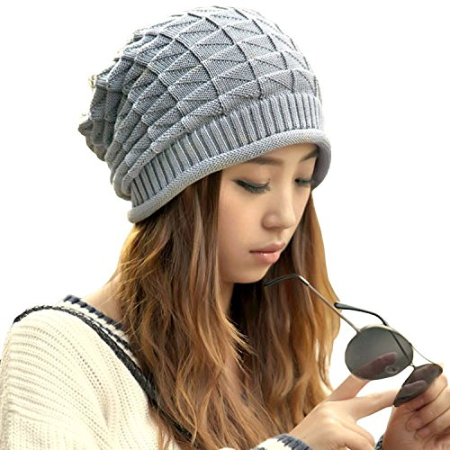 Price comparison product image Valuable Slouchy Beanies,Dealzip Inc Stylish Grey Woven Knitted Crochet Plicated Baggy Slouch Warm Winter Hat Cap Beret Beanie