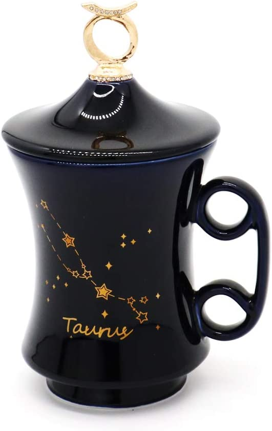 Ceramic Mug for Women with Lid Birthday Gift for Females Creative Diamond-Embedded Constellation Coffee Cup Valentine Gift (Taurus)