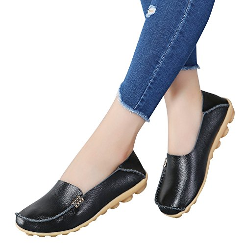6468fb33374 Fashion Brand Best Show Women s Leather Loafers Casual Round Toe Moccasins  Wild Driving Flats Shoes