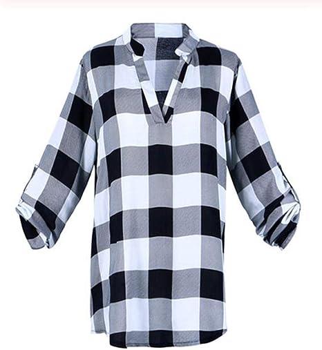 AXPD Camisetas y camisas deportivas Camisa A Cuadros Rojo Negro Gasa De Mujer Ropa Cuadrícula Top Informal L: Amazon.es: Deportes y aire libre