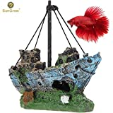 SunGrow Shipwreck for Betta Fish, 5.7-inches Long by 2.2-inches Wide by 9-inches Tall, Made of Resin, Suitable for Any Aquarium Size, Boat Aquarium or Home Décor Larger Image