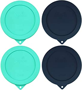 Sophico 2 Cup Round Silicone Storage Cover Lids Replacement for Anchor Hocking and Pyrex 7200-PC Glass Bowls (Container not Included) | Navy Blue-Mint | 4 Pack