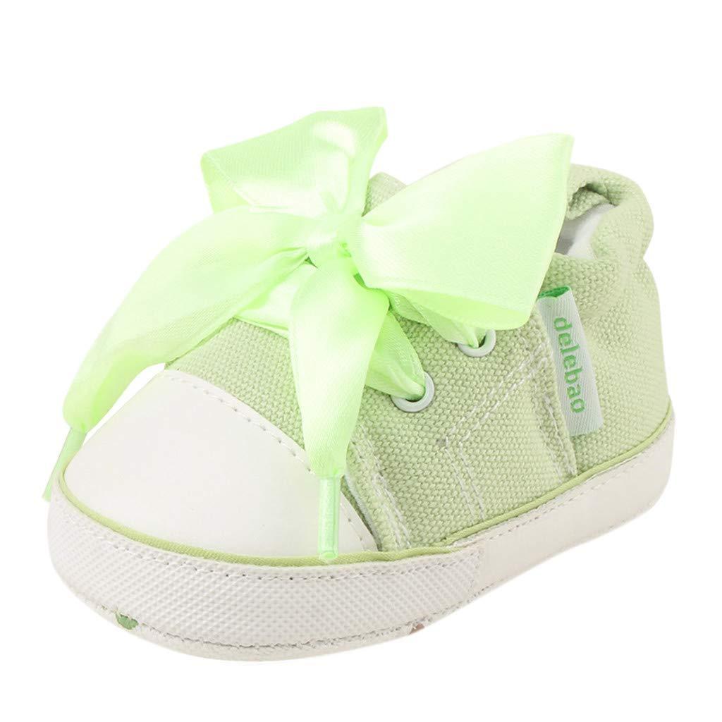 Yalasga Newborn Baby Girls Boys Canvas Sneaker Anti-Slip First Walkers Soft Sole Outdoor Crib Shoes (Green, 0-6Months)