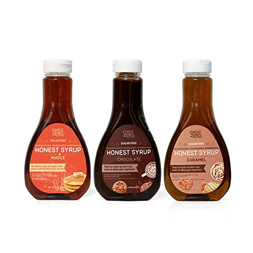 Maple Syrup Fudge - ChocZero's Maple Syrup, Chocolate Syrup, and Caramel Syrup 3 Pack Combo. Sugar Free, Low Net Carb, No Preservatives. Gluten Free. No Sugar Alcohol. Dessert and breakfast toppings.(3 Bottles)