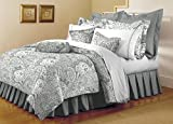 Mellanni Bed Sheet Set - HIGHEST QUALITY Brushed Microfiber 1800 Bedding - Wrinkle, Fade, Stain Resistant - Hypoallergenic - 4 Piece (Queen, Paisley Gray)