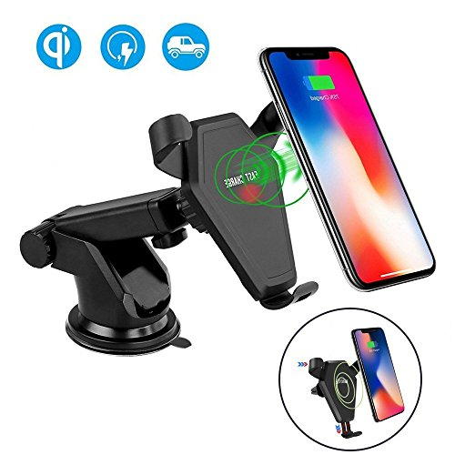 Wireless Car Charger ADDANY Fast Wireless Charger Car Mount Air Vent Phone Holder Cradle for Samsung Galaxy S8/S8+/S7/S6 Edge+/Note 5, QI Wireless Standard Charge for iPhone 8/8 Plus/X ()