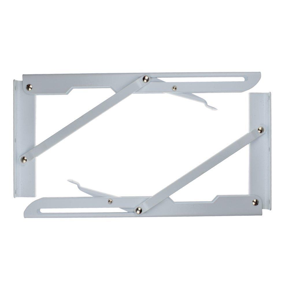 2 Pcs Sturdy Folding Shelf Brackets White Hinge Wall Mounted Metal Triangle Table Bench Folding Shelf Bracket (12 Inch) by YOMNEE (Image #3)