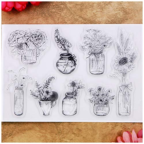 (Kwan Crafts Flowers Vase Rose Chrysanthemum Clear Stamps for Card Making Decoration and DIY)