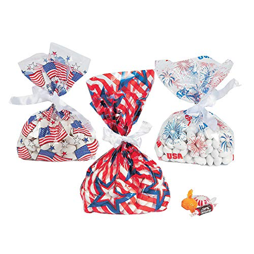 Fun Express - Patriotic Cello Bag Assortment (3dz) for Fourth of July - Party Supplies - Bags - Cellophane Bags - Fourth of July - 36 Pieces ()