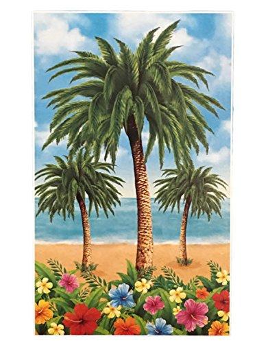 - Summer Beach Party Themed Hawaiian Tropical Backdrops - Flamingo, Palm Trees, Beach Parrot Toucan & Ocean Whale (Palm Trees Floral Beach)