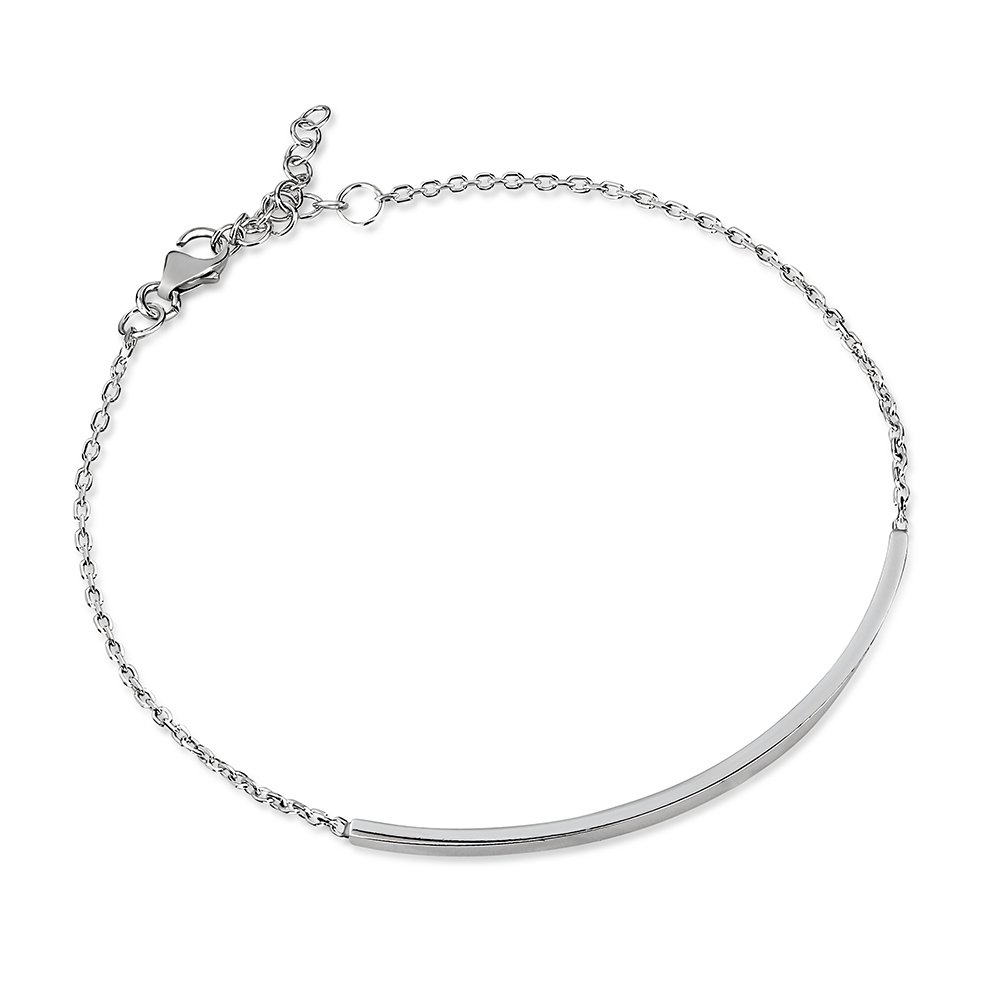 925 Sterling Silver Single Horizontal Minimalist Bar Statement Bracelet, Adjustable 6.5 - 7.5 inches