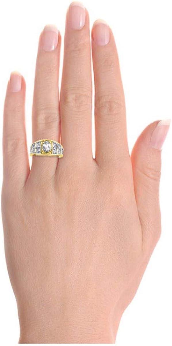 RYLOS Simply Elegant Beautiful White Topaz /& Diamond Ring April Birthstone