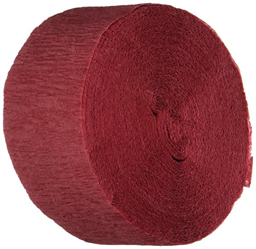 2 ROLLS Maroon Burgundy Crepe Paper Streamers, 145 Feet Total, Made in USA
